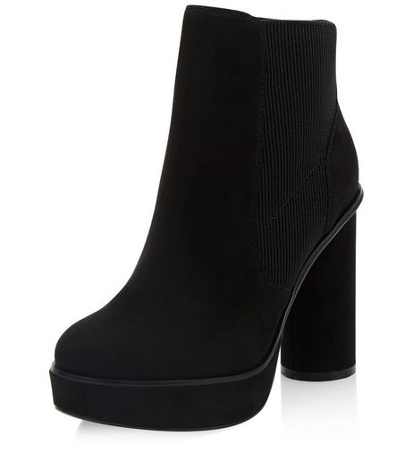 Wide Fit Black Suedette Cylindrical Heel Ankle Boots  | New Look