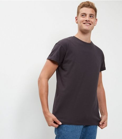 Dark Grey Roll Sleeve T-Shirt | New Look
