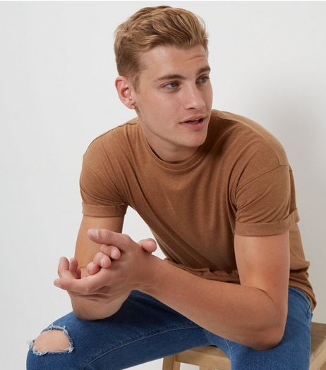 Light Brown Roll Sleeve T-Shirt | New Look