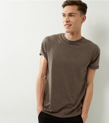 Brown Speckled Roll Sleeve T-shirt | New Look