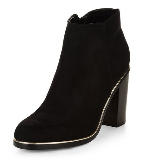 Wide Fit Black Suedette Metal Trim Heeled Ankle Boots | New Look