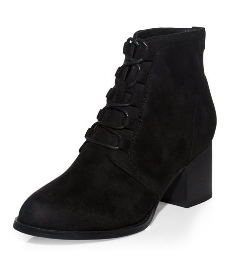 Teens Black Lace Up Block Heel Ankle Boots | New Look