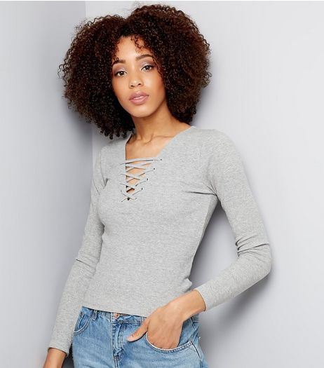Grey Lattice Front Top  | New Look