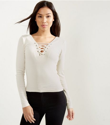 Cream Lace Up Long Sleeve Top | New Look