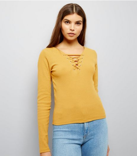 Yellow Lattice Front Top  | New Look