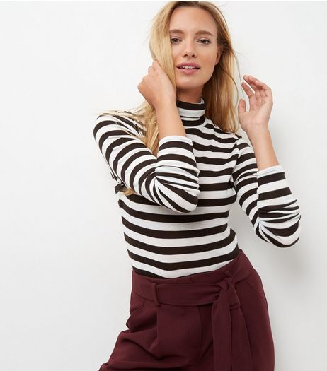 Black Stripe Turtle Neck Long Sleeve Top  | New Look