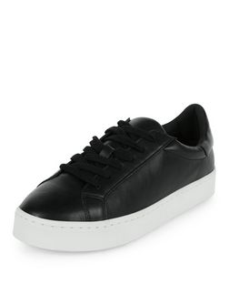 Black Contrast Lace Up Plimsolls | New Look
