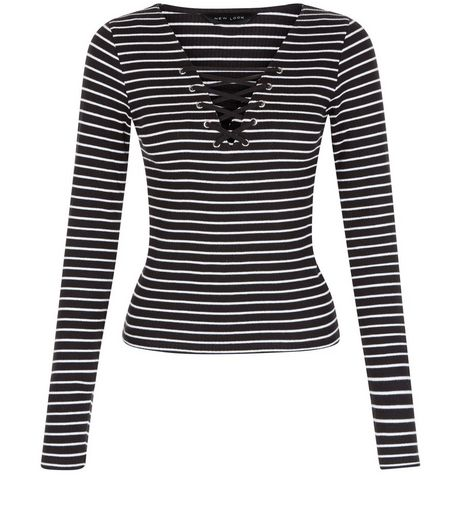 Black Stripe Lace Up Long Sleeve Top  | New Look