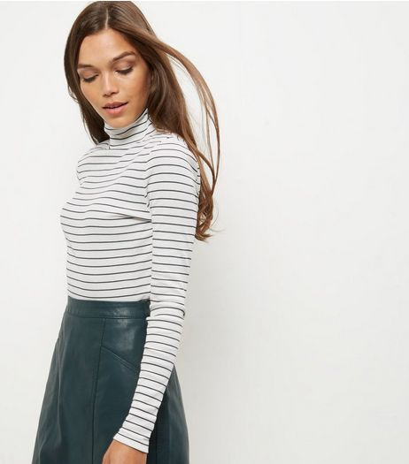 White Stripe Turtle Neck Long Sleeve Top  | New Look