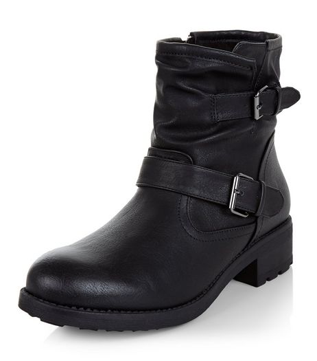 Black Buckle Strap Ankle Boots  | New Look