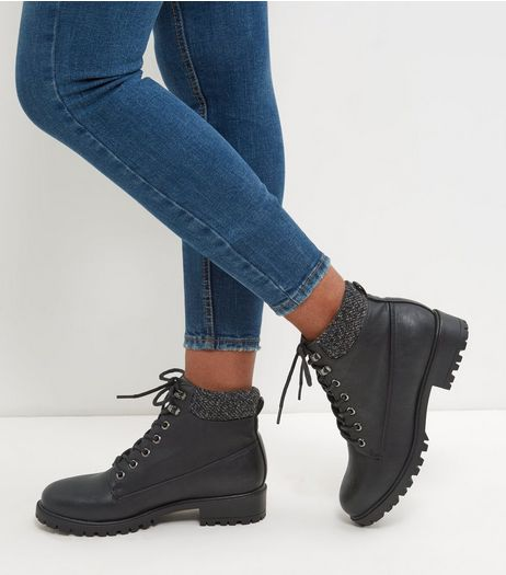 Black Cuffed Lace Up Boots  | New Look