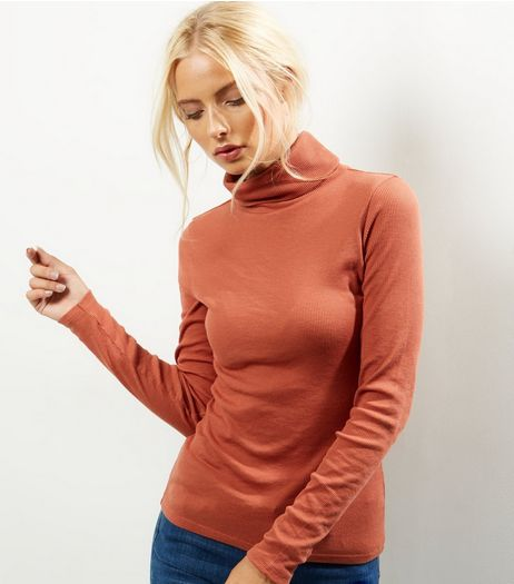 Light Brown Ribbed Turtle Neck Jumper  | New Look