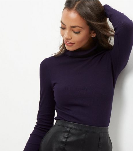Navy Ribbed Turtle Neck Jumper | New Look