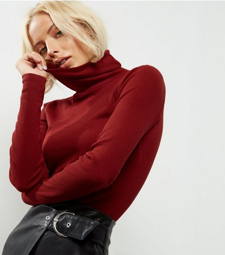 Dark Red Ribbed Turtle Neck Jumper  | New Look
