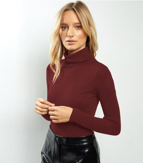 Burgundy Long Sleeve Turtle Neck Top | New Look