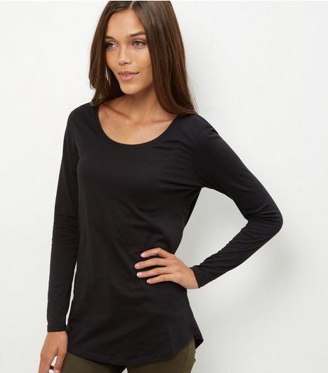 Black Curve Hem Long Sleeve Top  | New Look
