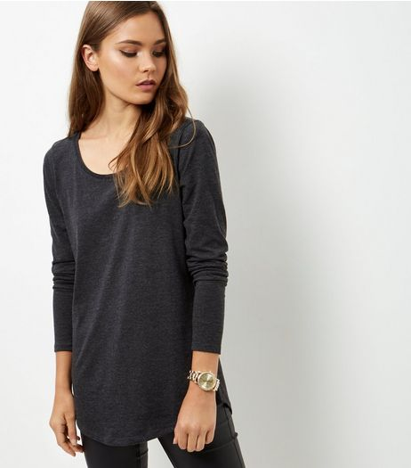 Dark Grey Curve Hem Long Sleeve Top  | New Look