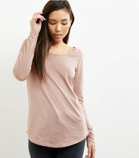 Mink Curve Hem Long Sleeve Top | New Look