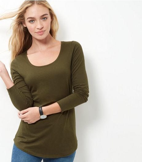 Olive Green Curve Hem Long Sleeve Top | New Look