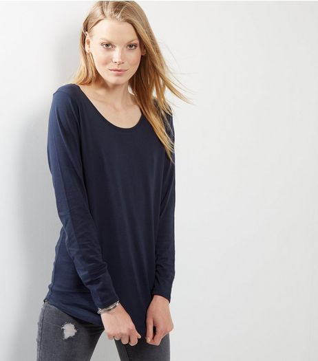 Navy Curve Hem Long Sleeve Top | New Look