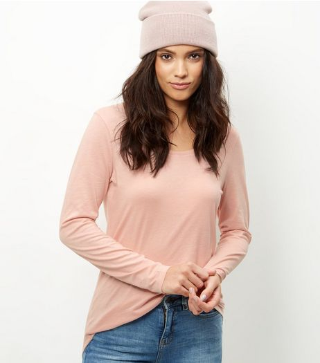 Mid Pink Curve Hem Long Sleeve T-shirt | New Look