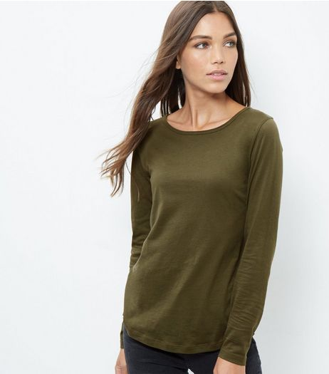 Olive Green Crew Neck Long Sleeve T-Shirt  | New Look