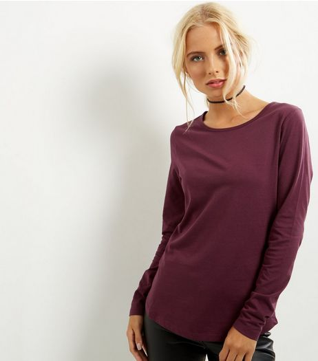 Dark Red Crew Neck Long Sleeve Top | New Look