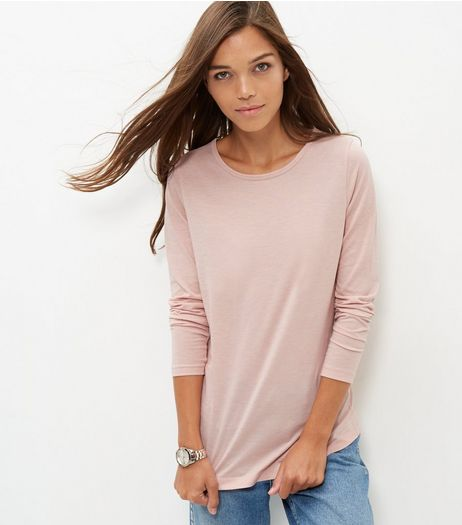 Mid Pink Crew Neck Long Sleeve T-Shirt  | New Look