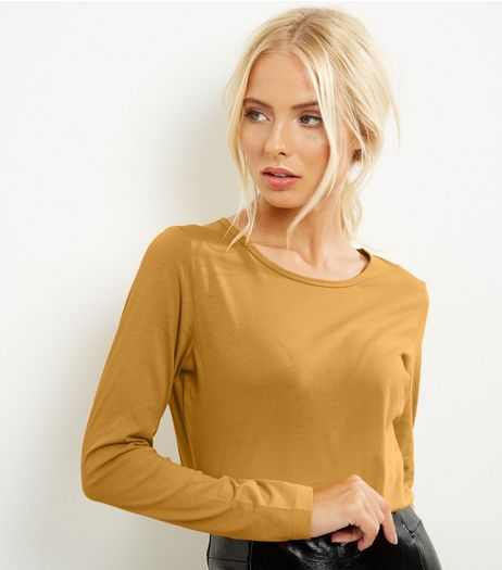Yellow Crew Neck Long Sleeve Top  | New Look