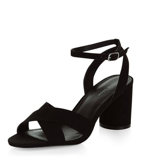 Black Suedette Cross Strap Heeled Sandals | New Look