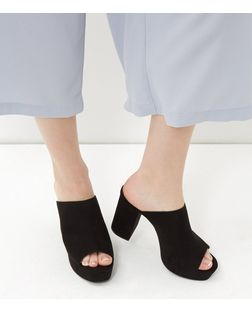 Black Suedette Peep Toe Block Heel Mules  | New Look