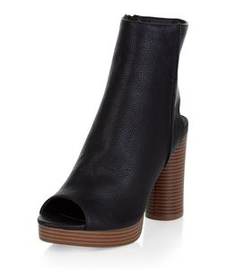Black Leather-Look Peep Toe Block Heel Ankle Boots | New Look