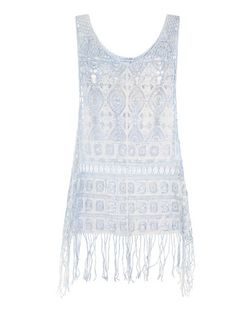 Cameo Rose Blue Embroidered Fringed Top | New Look