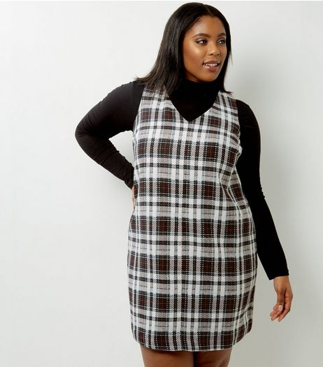 Curves White Check Pinafore Dress | New Look