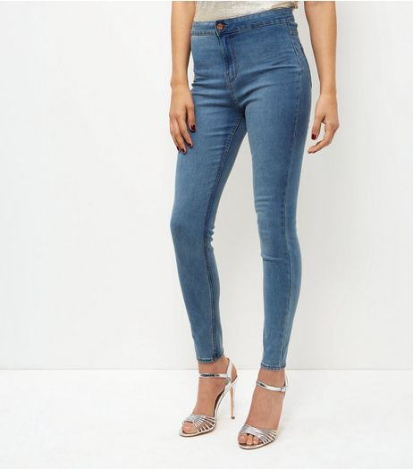 Blue Faded High Waist Super Skinny Jeans | New Look
