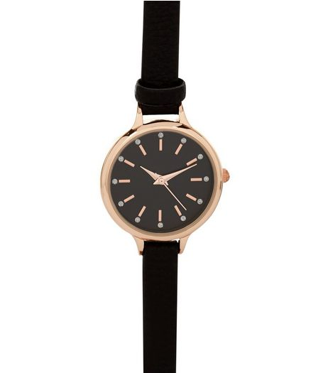 Black Diamanté Dial Skinny Strap Watch | New Look