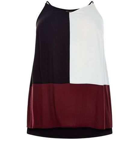 Curves Black Colour Block Cami | New Look