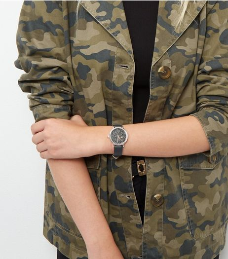 Black Geo Print Leather-Look Watch  | New Look