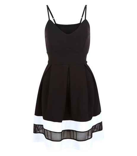 Cameo Rose Black Mesh Panel Strappy Skater Dress | New Look