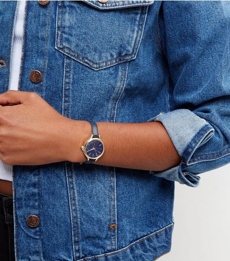 Navy Leather- Look Skinny Strap Watch | New Look