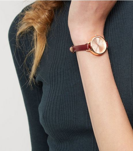 Burgundy Skinny Strap Watch | New Look