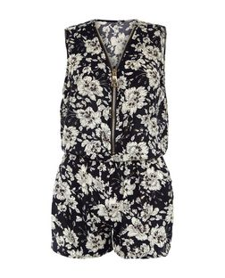 Cameo Rose Black Floral Print Zip Front Playsuit | New Look