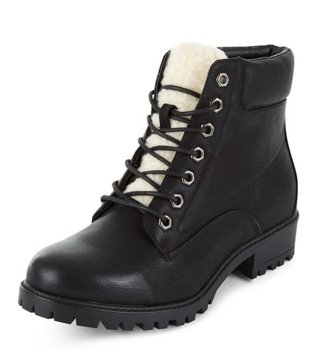 Black Faux Shearling Tongue Lace Up Boots  | New Look