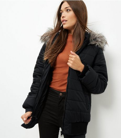 Black Faux Fur Trim Quilted Hooded Bomber Jacket  | New Look