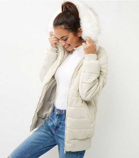 Cream Faux Fur Trim Quilted Hooded Bomber Jacket  | New Look