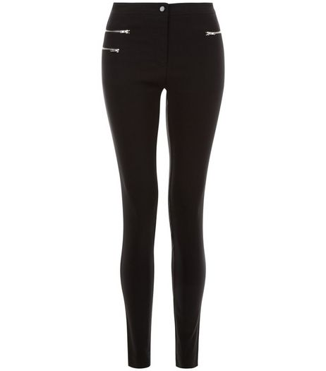 Black Double Zip Pocket Bengaline Slim Leg Trousers | New Look