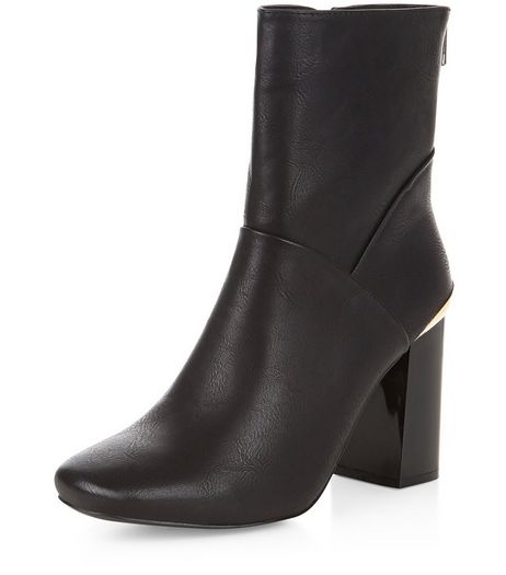 Black Metal Trim Block Heel High Ankle Boots | New Look