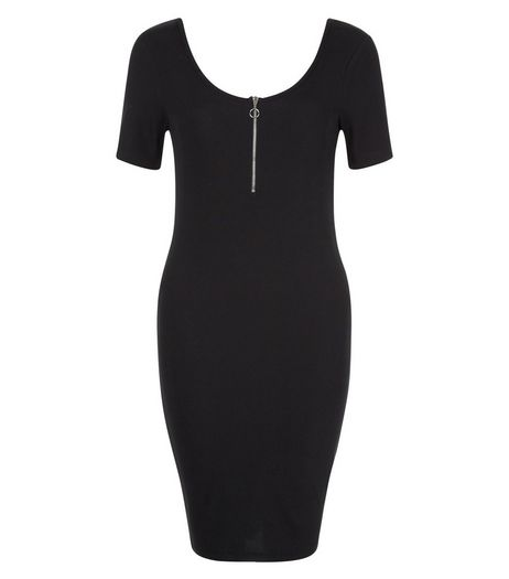 Black Zip Front Cap Sleeve Bodycon Mini Dress  | New Look