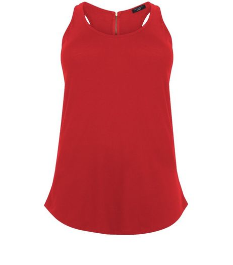 Curves Red Zip Back Vest | New Look