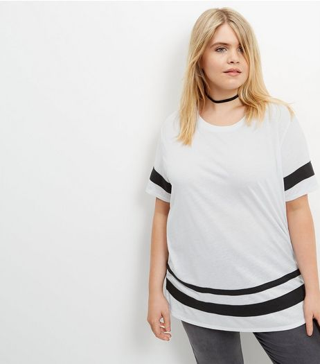 Curves Cream Stripe Trim Boyfriend T-Shirt | New Look